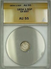 1834 Great Britain 1.50P 1 1/2 Pence Silver Coin ANACS AU-55