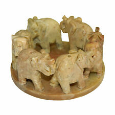 5-pack 6 Elephants in Circle Incense Holder for Sticks Soapstone Home Decoration