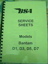 BSA WORKSHOP MANUAL Service Sheets for Bantam D1, D3, D5, D7 1949-1966- BW03
