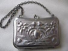 Antique Art Nouveau Silver P Floral Card Case Coin Holder French Doll Purse