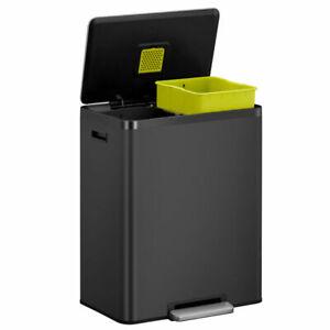Kitchen Recycling Bin Stainless Steel Two 30L Inner Buckets 60L EKO Ecocasa Bin