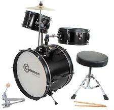 New Gammon Black Drum Set Junior Childrens Complete Child Kids Kit Stool Sticks
