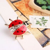 Female On Accessories Fashionable Rhinestone Ladybug Brooches Women Jewelry