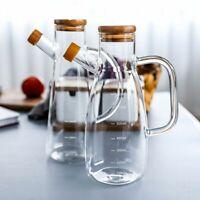 Borosilicate Glass Bottle Oil Vinegar Dispenser Sauce Dressing Pourer Handle Lid