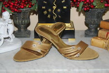 PACO GIL GOLD TONED SATIN JEWELED WOMEN'S GOLD HIGH HEEL SANDALS SIZE 8.5 M