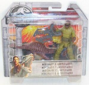 Jurassic World MERCENARY & ANKYLOSAURUS Figure NEW Mattel FALLEN KINGDOM Sealed