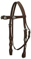 Showman DARK OIL Leather Headstall Set w/ Crystal Rhinestone Conchos! NEW TACK!!