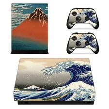 Xbox one X Console Mount Fuji The Great Wave Vinyl Skin Set Decal Sticker Cover