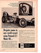 1960 DON GARLITS / ART MALONE DRAG RACING  ~  ORIGINAL PENNZOIL AD