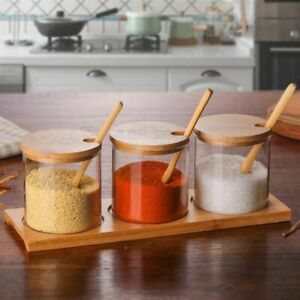 Kitchen Seasoning Glass Jar 1Pc Spice Can Organizer Bamboo Lid & Spoon Container