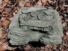 "Cement 10""  WELCOME Stone Sign Rock Garden Art Statue Green Patina Concrete   A"