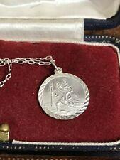 "925 Sterling Silver St Christopher Pendant Chain Necklace 16.75"" 42cm (D3R)"