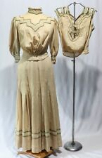 Vintage Antique Victorian Dress Gown 3 Pc  Camisole Bodice Shirt Top Skirt  Gown