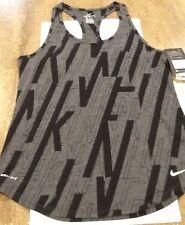 Nike Wm NWT Dri-Fit allover print Tank (833830-010) Sz-M Grey/Black