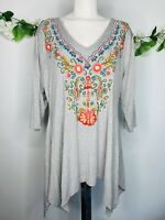 Soft Surroundings Sz Large L Gray Floral Embroidered Shark Bite Tunic Top Shirt