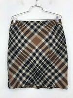 Anne Klein Womens Pencil Skirt Brown Black Plaid Knee Back Slit Length Petite 8P