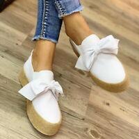 Women Wedge Platform Espadrilles Bow Pumps Slip On Comfy Loafers Shoes Size