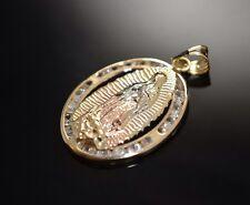 Virgin Guadalupe Pendant Real 14k Gold Religious Charm Virgen Medalla Oro