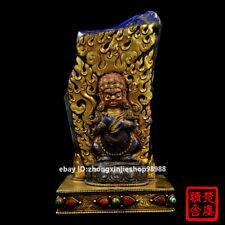 28CM Tibet pure Bronze 24 Gold lapis lazuli Black Jambhala Mammon Buddha Statue