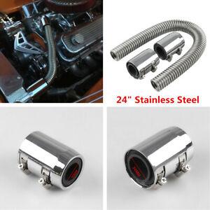 "24""Chrome Stainless Steel Radiator Flex Coolant Hose Kit With Cap/Radiator Cover"