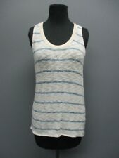 BELLA LUXX White Stripe Sleeveless Scoop Neck Casual Tank Blouse NWT Sz M EE8376