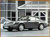 PORSCHE 911 CARRERA 4 PRESS PHOTOGRAPH CIRCA 1990 BLACK & WHITE