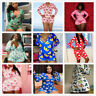 Plus Size Women Sexy Long Sleeve Printed Buttons Casual Short Bodycon Jumpsuit