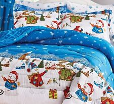 HOLIDAY FROSTY SNOWMAN COUNTRY CHRISTMAS VILLAGE BLUE SNOWFLAKE 8PC FQK BED SET
