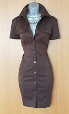 Rare Karen Millen Brown Faux Suede Military Safari Trench Shirt Style Dress10 38