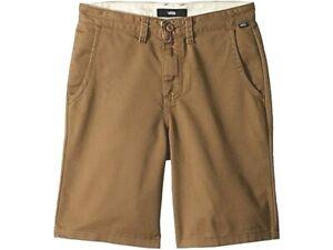 VANS Boys Authentic Stretch Chino Shorts Khaki Tan Brown New