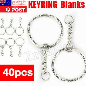 DIY 40Pcs Split Metal Key Holder Ring Keyring Blanks Link Chains Keychain Craft