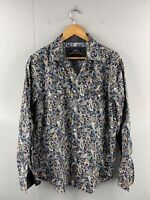 RNZ Premium Men's Vintage Long Sleeve Pearl Snap Western Shirt Size XL Blue