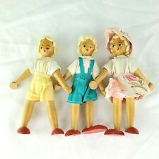 Lot of 3 Vintage Wood Dolls Made in Poland