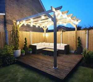 2.4m wide x 2.4m deep x 2.4m timber wooden garden gazebo pergola