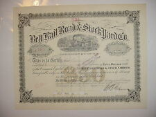 Belt Rail Road & Stock Yard Co. Stock Certificate Indiana Railroad