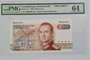 """1980 LUXEMBOURG 100 Francs """"SPECIMEN"""" PMG64 UNC {P-57s} 'No.186'"""