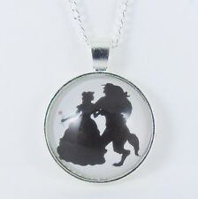 BEAUTY AND THE BEAST SILHOUETTE NECKLACE disney princess belle wedding rose