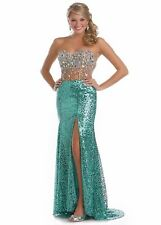 KARISHMA NWT $385 NUDE/GREEN STRAPLESS FULLY SEQUINS JEWELED PROM GOWN SIZE 8