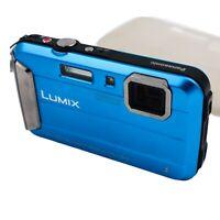 PANASONIC LUMIX DMC-FT30 BLUE CAMERA WATERPROOF 16.1MP F3.9 - 5.7 - NO CHARGER