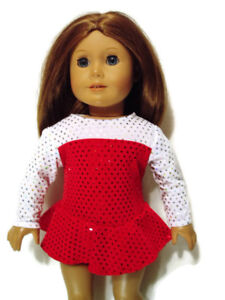 """Red/White Ice Skating Outfit fits American Girl 18"""" Doll Clothes"""