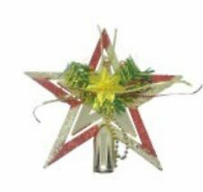 Shiny Decorative Christmas Tree Topper Flower Large Red/Gold