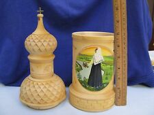 Russian Folk Art 3 Pc Hand Carved Wooden Church Bottle Holder HP Peasant Bride