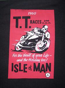SALE 1960 TT Races Poster Print T Shirt Biker Rocker