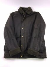 Men's Medium Barbour Brown Waxed Jacket with Warm Pile Fur Lining