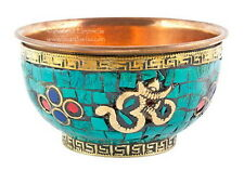 ALTAR BOWL: OFFERING BOWL OM SYMBOL WITH STONES - Wicca Pagan Witch Goth