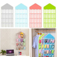 16 Pockets Clear Over Door Hanging Bag Shoe Rack Hanger Storage Organizer US SO