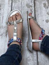 Silver sandals size 5 Diamanté Wedge Shimmer Bling Slip On T-bar Low Festival