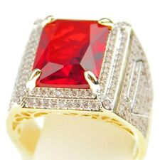 Mens Faux Ruby Ring Micro Pave Gold Finish Brass Bling CZ Cubic Zirconia SZ 10
