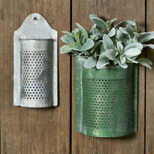 Set of 2 Perforated Wall Pockets in distressed tin
