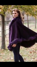 Pelliccia di volpe Lana Cashmere Cape Poncho Taglia Unica pelliccia di volpe in Viola Inverno 2016